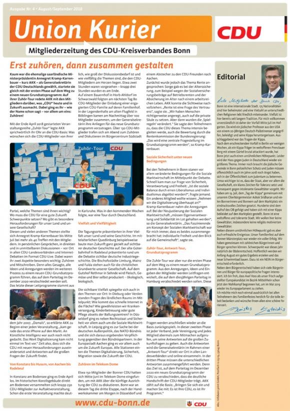 UnionKurier: Ausgabe August-September 2018